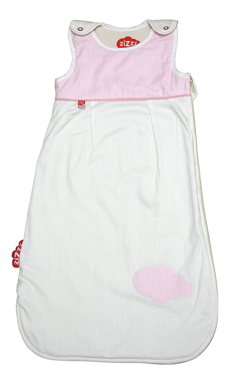 Zizzz 13Z054 Ganzjahres Schlafsack, Swisswool Füllung, Atmungsaktiv und Natürlich, 0-6 Monate, Design Bird Vichy, 70 cm, rosa