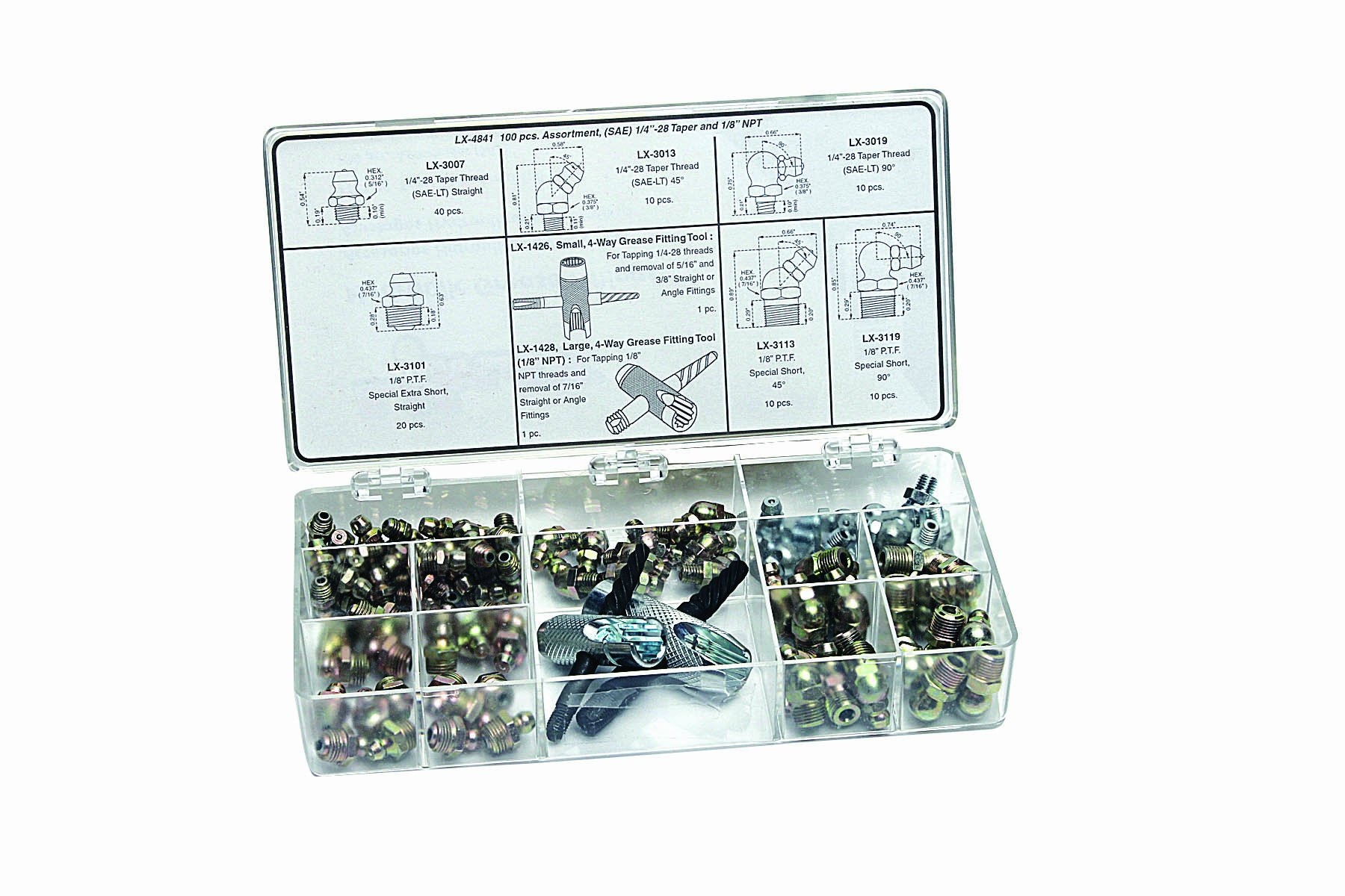Lumax LX-4841 Gold/Silver (SAE) 1/4''-28 Taper and 1/8'' P.T.F. 100 Piece Grease Fitting Assortment by Lumax