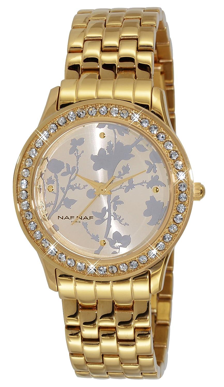 Naf Naf N10192G-101 - Reloj de cuarzo para mujer, con correa de acero inoxidable, color dorado: Amazon.es: Relojes