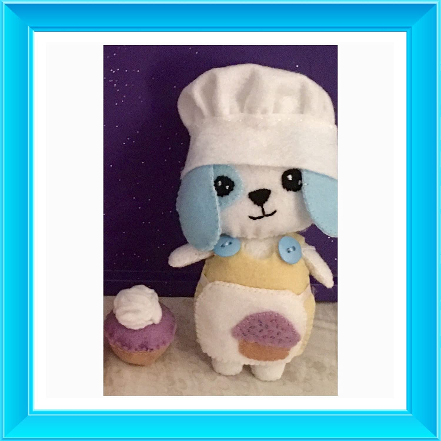 Chef in Training lil Pierre with his own cupcake creation Felt Plush Creation ~Hand-sewn with love Patisserie Puppies