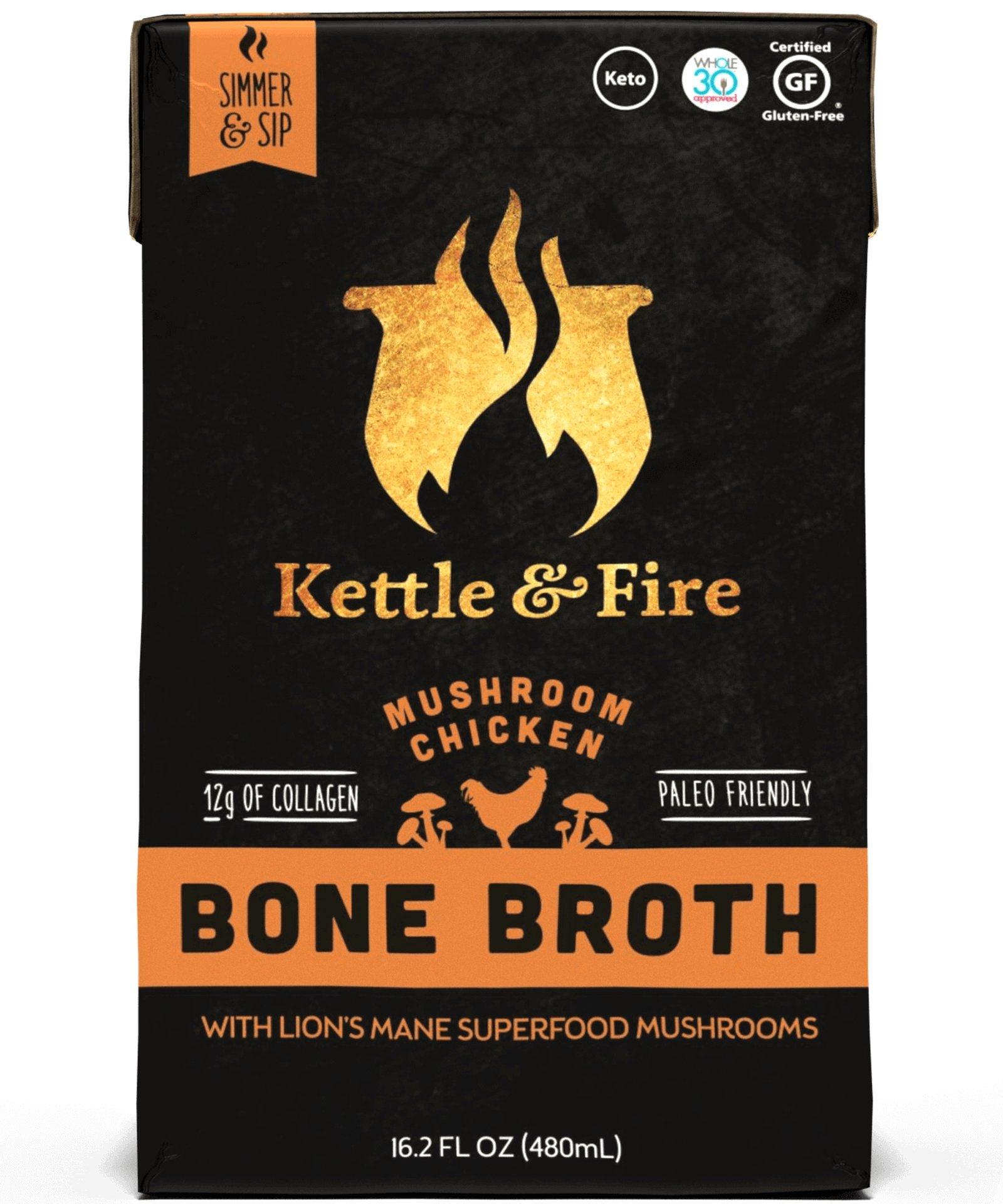 2 Mushroom Chicken Bone Broth- Collagen & Gelatin Rich Bonebroth for Ketogenic Diet or Paleo Keto Snack w Lion's Mane & 10g Protein. Gluten Free Gut & Digestive Friendly Nutrition from Ancient Source