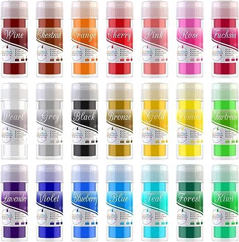 Pigmento de Resina Epoxi - 21 Colores x 10g Mica en polvo Tinte de Resina Epoxi - Colorante de Limo de Grado Cosmético para Fabricación de Jabón Bomba ...