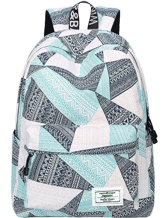 Backpack For Teens, Fashion Geometric Pattern Laptop Backpack College Bags Women Shoulder Bag Daypack Bookbags Travel Bag By Mygreen (Blue&Green&Orange) by Mygreen