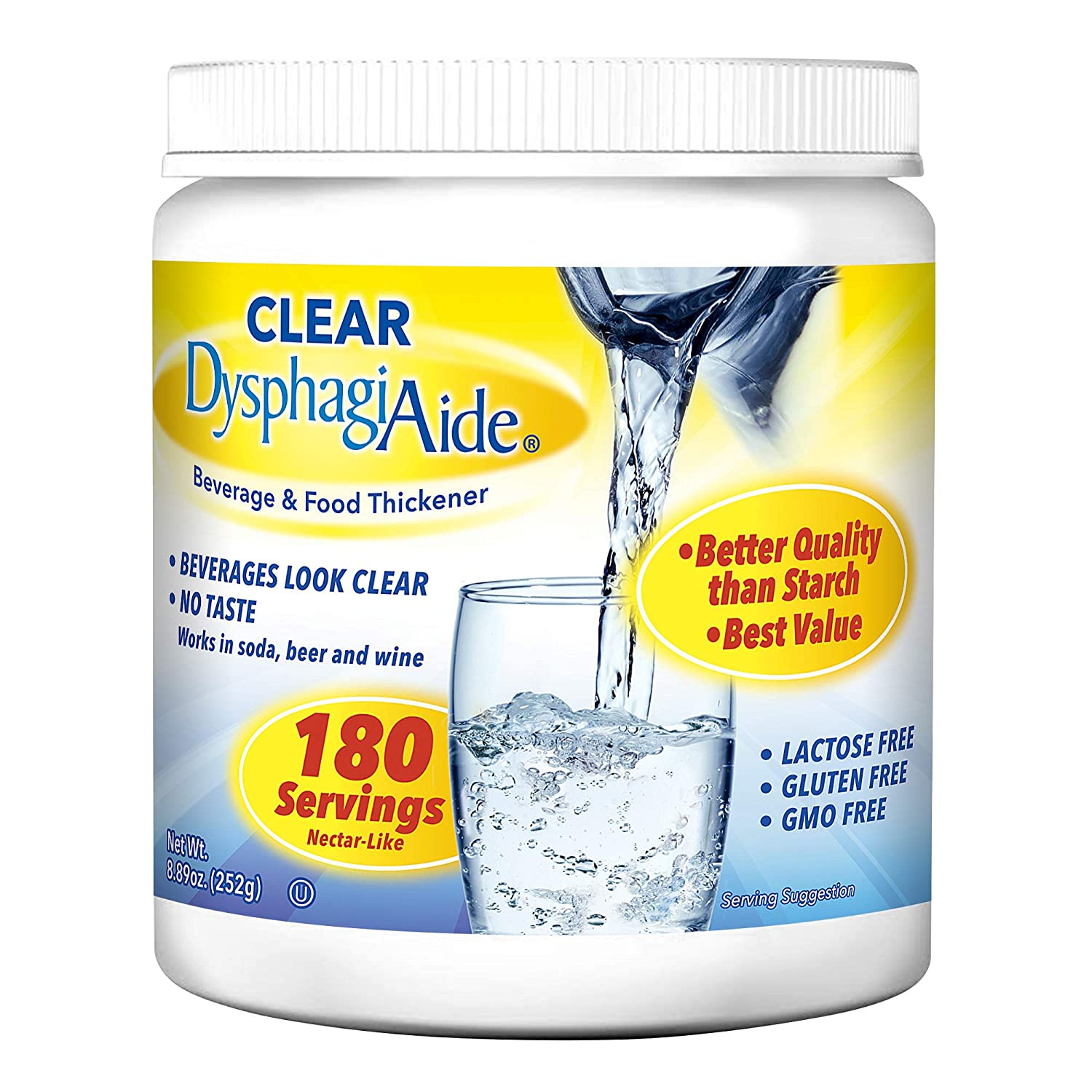 Clear DysphagiAide Thickener Powder - Instant Thickener for Liquids and Foods (8.89 oz, 180 Servings) – a Liquid Thickener, Drink Thickener and Water Thickener (Nectar Thick Consistency and Honey)