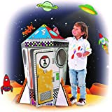 Spiritoy My Rocket Coloring Paper 46.85 Inch Tall Playhouse For Kids - Foldable For Easy Storage, Hide & Seek And Imaginative Play by BodyHealt Toys