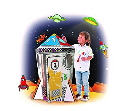My Rocket Ship Cardboard Playhouse - Large Corrugated Color In Coloring  Play House for Kids - 3.5 Feet Tall, Easy Assembly, Fast Fold - by Spiritoy