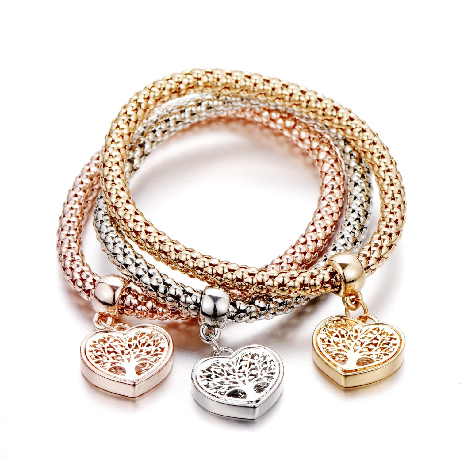SILANER Stretch Bracelets 3pcs Tree of Life Heart Edition Charm Bracelet with crystals for Women B07F1MKPT2_US