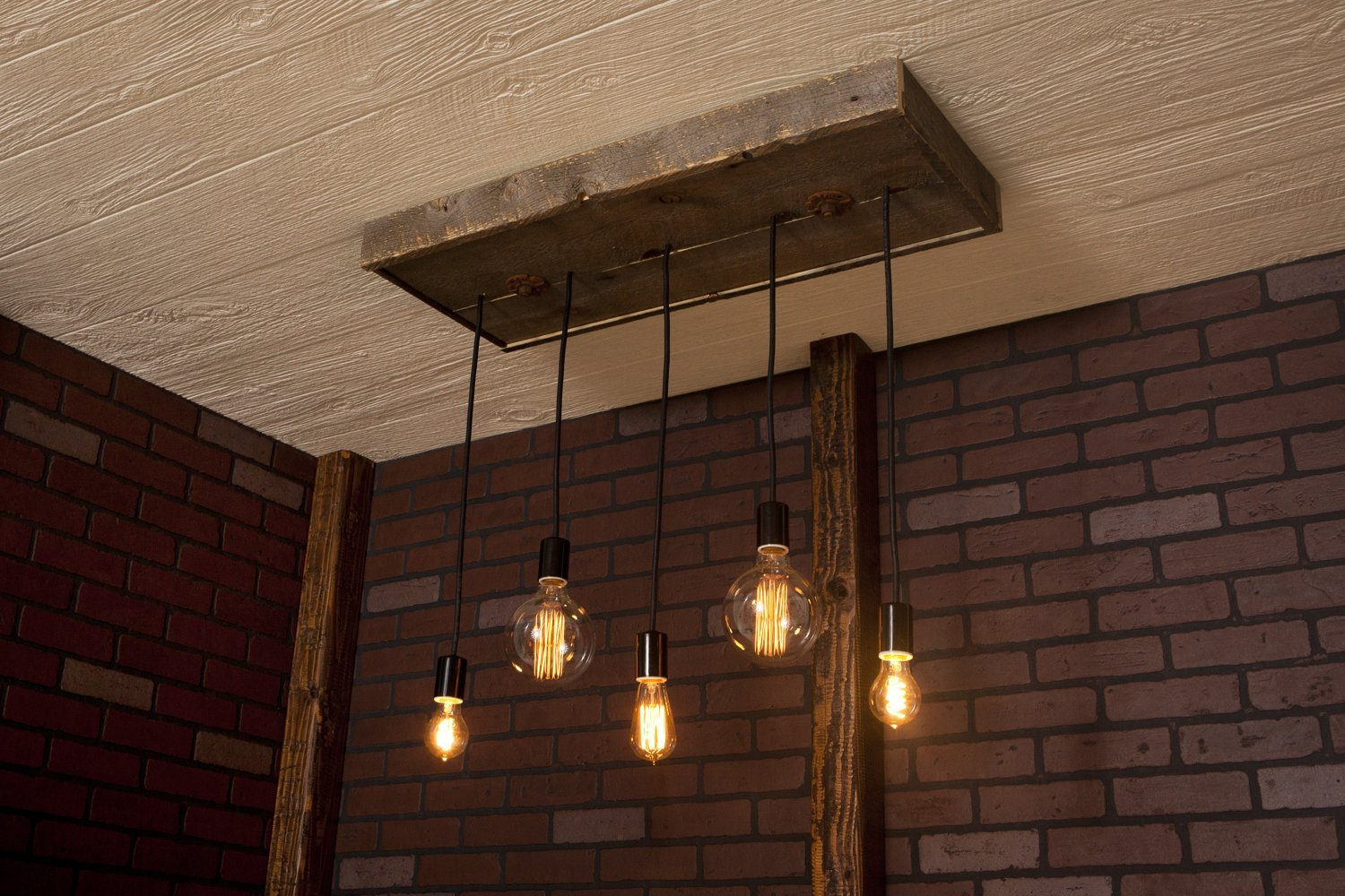 modern Lighting, Industrial Chandelier With Reclaimed Wood and 5 Pendants. R-1434-5