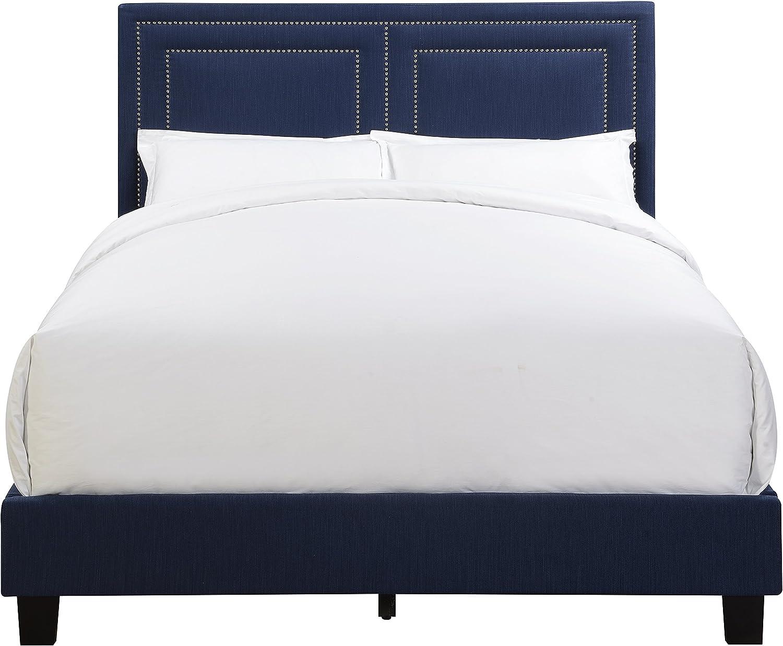 Pulaski Nail Head Trim, Framed Upholstered Bed, Queen, Royal Blue