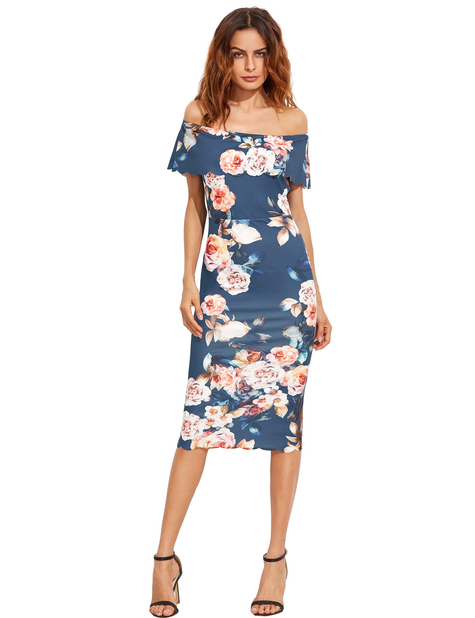 MakeMeChic Women's Floral Pencil Dress Knee Length Off Shoulder Cocktail Dress Blue S