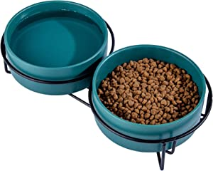 Ulmpp Cat Food Bowls,Elevated Cat Bowls,Raised Pet Food Water Bowls with Stand,Ceramic Pet Bowls for Cat or Dogs,12 Ounces Cat Dishes