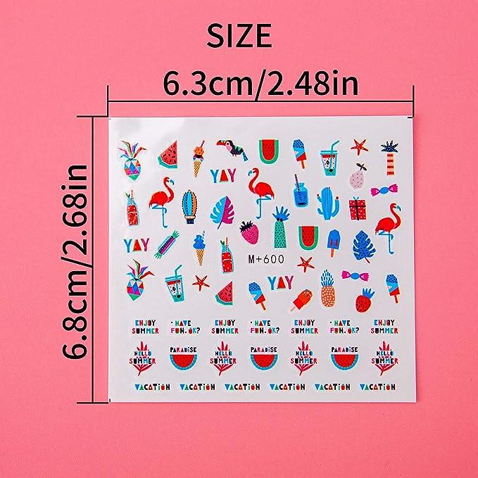 LUTER 18 Hojas Nail Art Stickers Calcomanías de Transferencia de Uñas Diseño de Varios Accesorios de Moda Decoración DIY para Mujeres Niñas niños