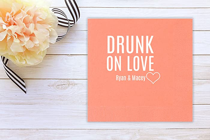 Drunk On Love Party Wedding Cocktail Napkins