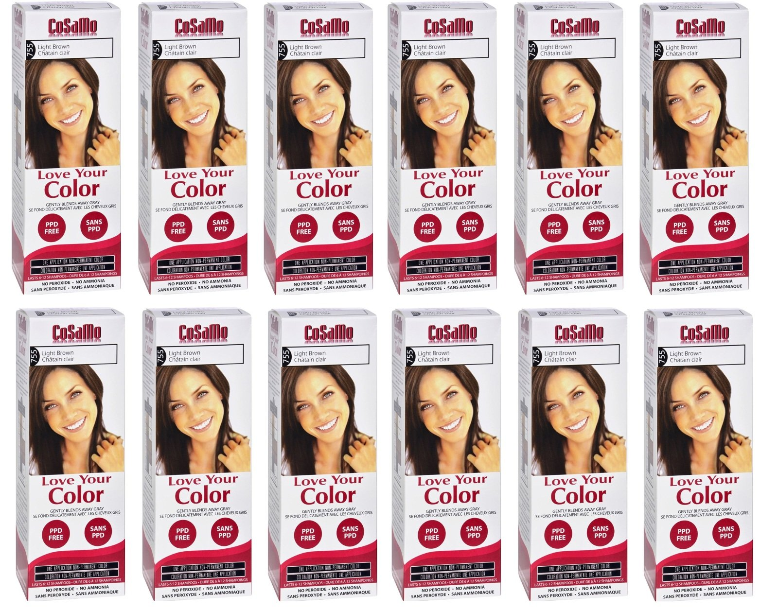 CoSaMo - Love Your Color Non-Permanent Hair Color 755 Light Brown - 3 Oz (Pack of 12) + FREE Assorted Purse Kit/Cosmetic Bag Bonus Gift