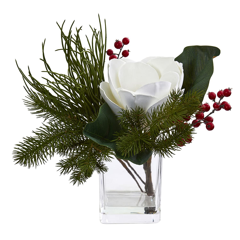 ほぼ自然Magnolia & Berries人工Arrangement in花瓶、ホワイト/グリーン B076BV5NK9