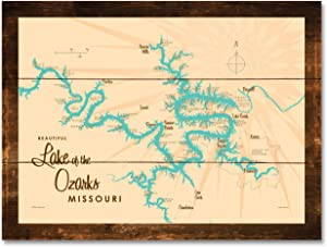 "Lake of The Ozarks Missouri Map Rustic Wood Art Print by Lakebound 18"" x 24"""