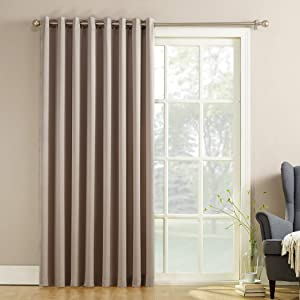 "Sun Zero Barrow Extra-Wide Energy Efficient Sliding Patio Door Curtain Panel with Pull Wand, 100"" x 84"", Stone"