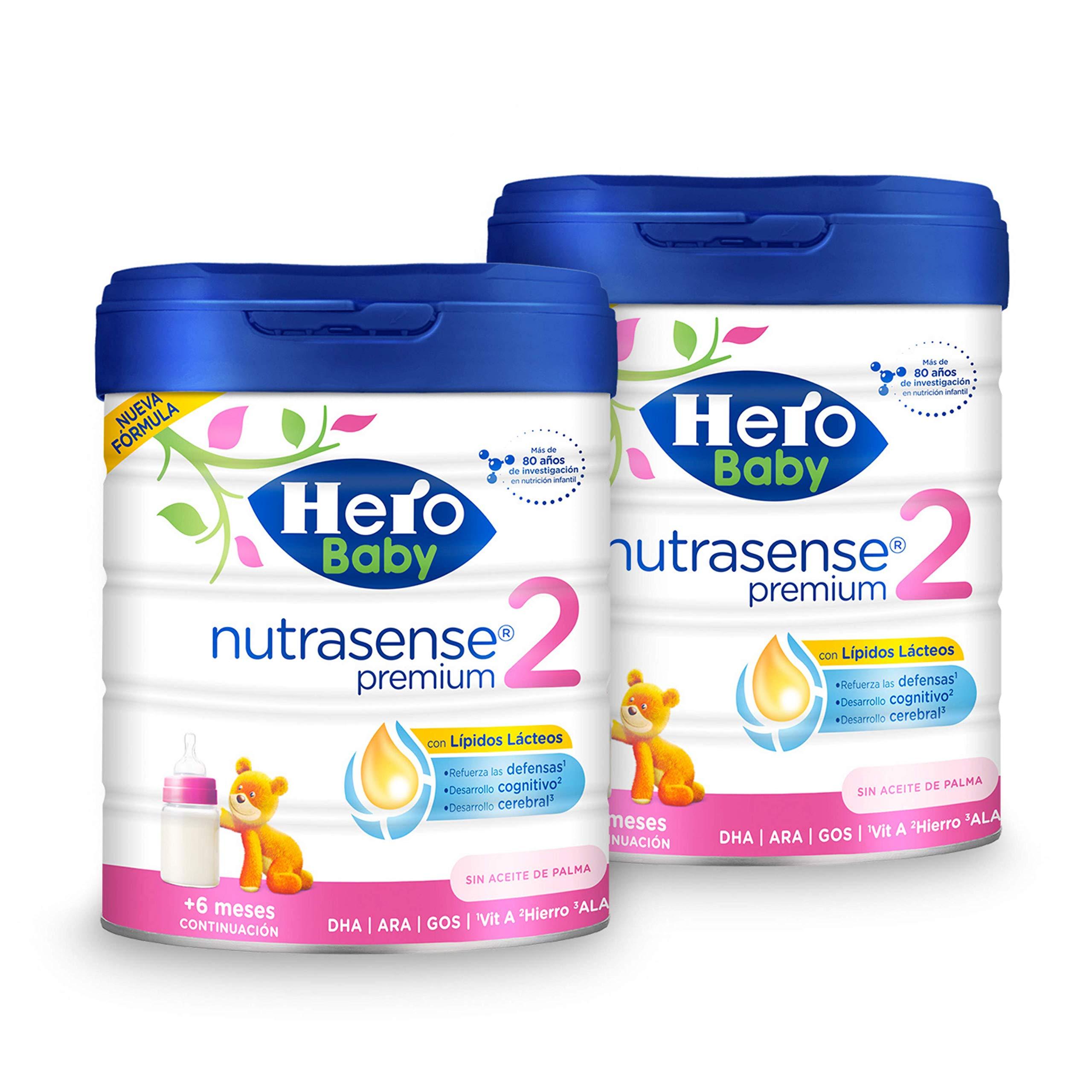 Hero Baby - Nutrasense Premium 2 - Leche de Inicio en Polvo para Bebés hasta los 6 Meses, Crecimiento y Desarrollo - Pack de 2 x 800g