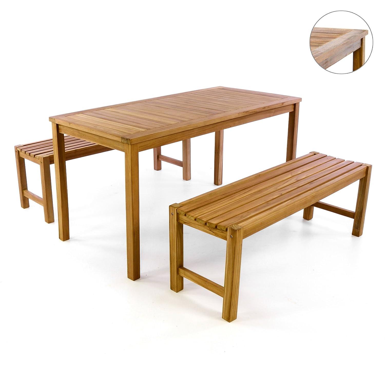 Divero Gartenmöbelset Picknickset Teakholz Bank Tisch Sitzgruppe