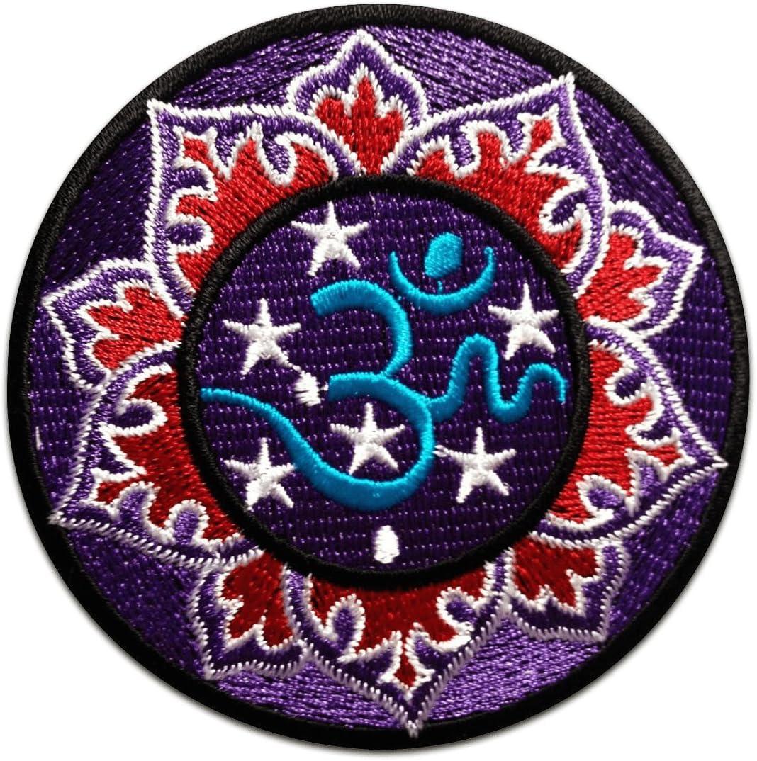 /Écusson brod/é Ecussons Imprim/és Ecussons Thermocollants Broderie Sur Vetement Ecusson Hippie 8 x 8 cm Om Symbole Bleu Spirituel M/éditationl Patch  Ca