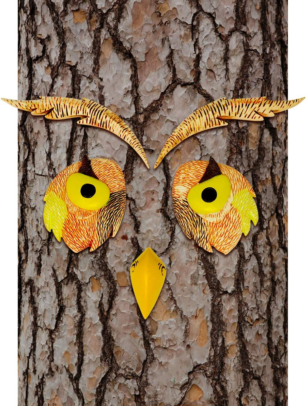 Hilarious Home Owl Face Tree Décor Outdoor Garden Statue