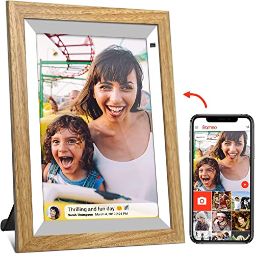 FRAMEO Digital Picture Frame WiFi 10 inch Wood