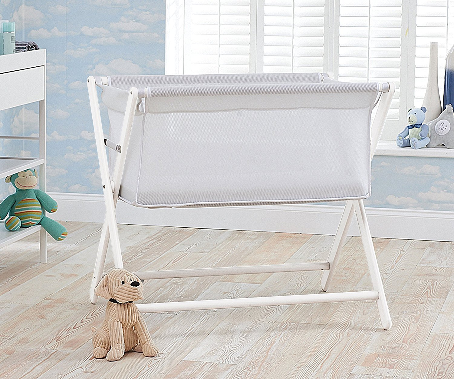 Little Chick London Breathable Bedside Crib - Cool White