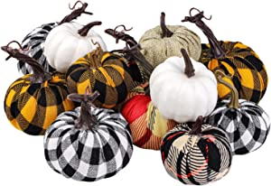 Elcoho 12 Pack Harvest Fabric Artificial Pumpkins Fall Festival Burlap Pumpkins Decoration for Fall Wedding Thanksgiving Halloween Tabletop Decor, Assorted Sizes