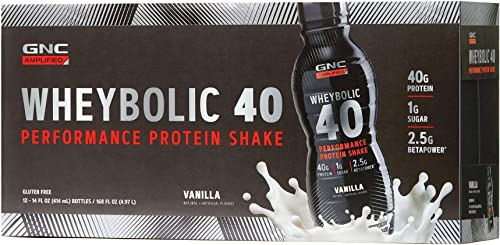 GNC AMP Wheybolic 40 – Vanilla, 12 Bottles, Meal Replacement Shake