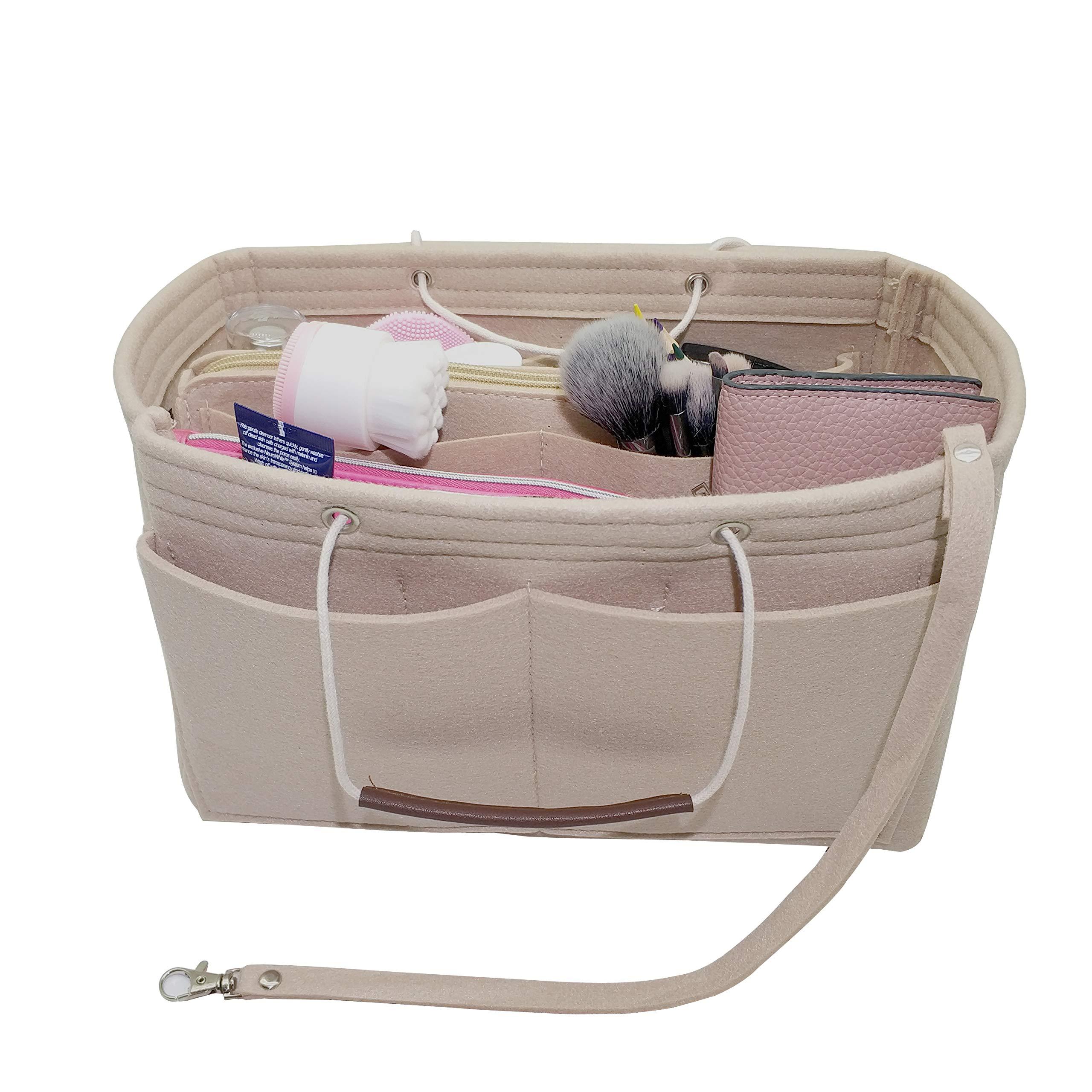 LEXSION Felt Purse Insert Handbag Organizer Bag in Bag Organizer with HandlesHolder Beige Large