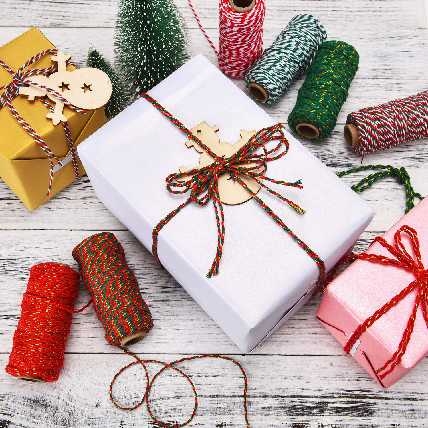 6 Rolls Christmas Twine Gift Wrapping Cord Bakers Twine Cotton Rope for Packing Arts Crafts Garden Decoration Supplies 6 Colors