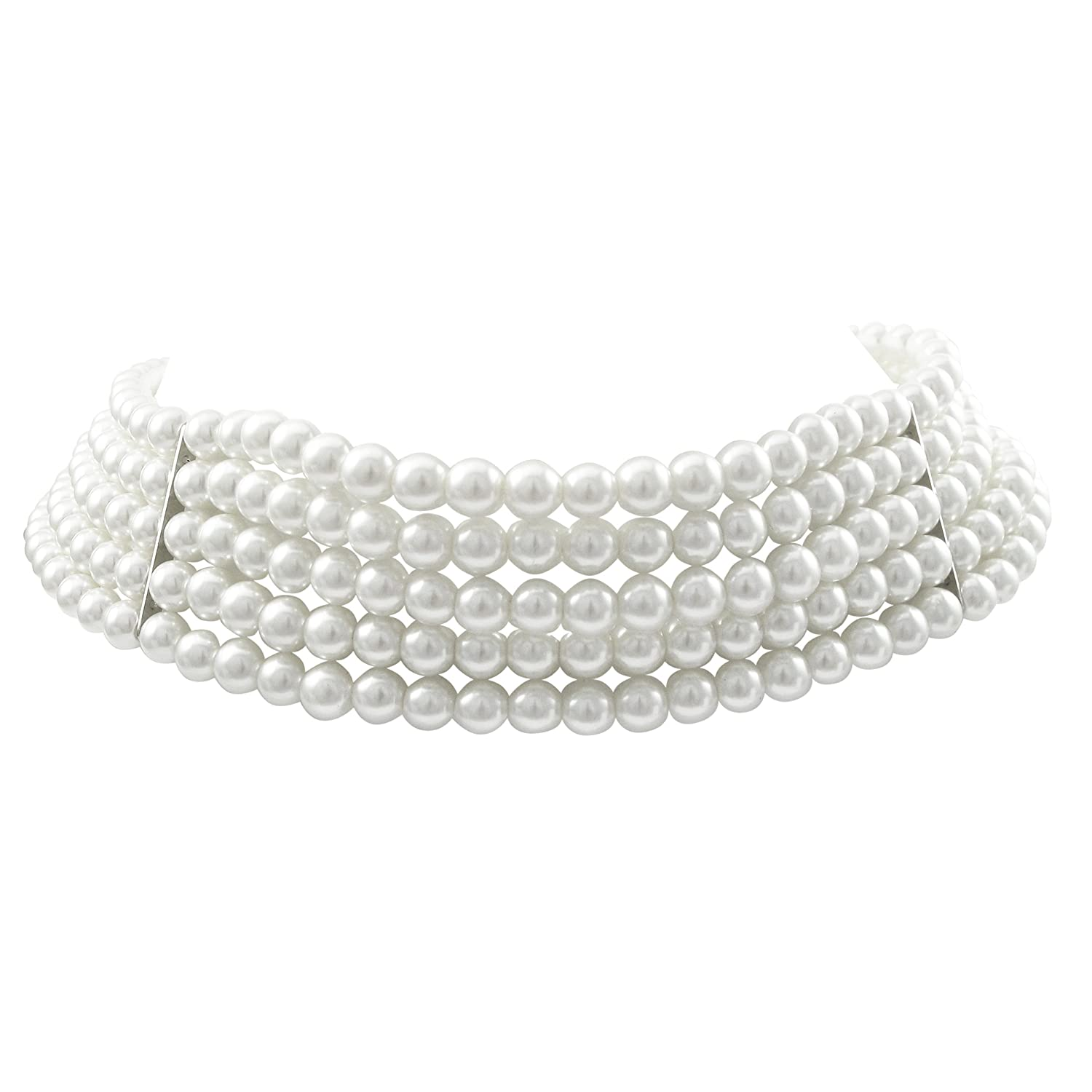 Isaac Kieran Rhodium Finish 6-mm White Faux Pearl 5-Strand Choker Necklace, 13+3