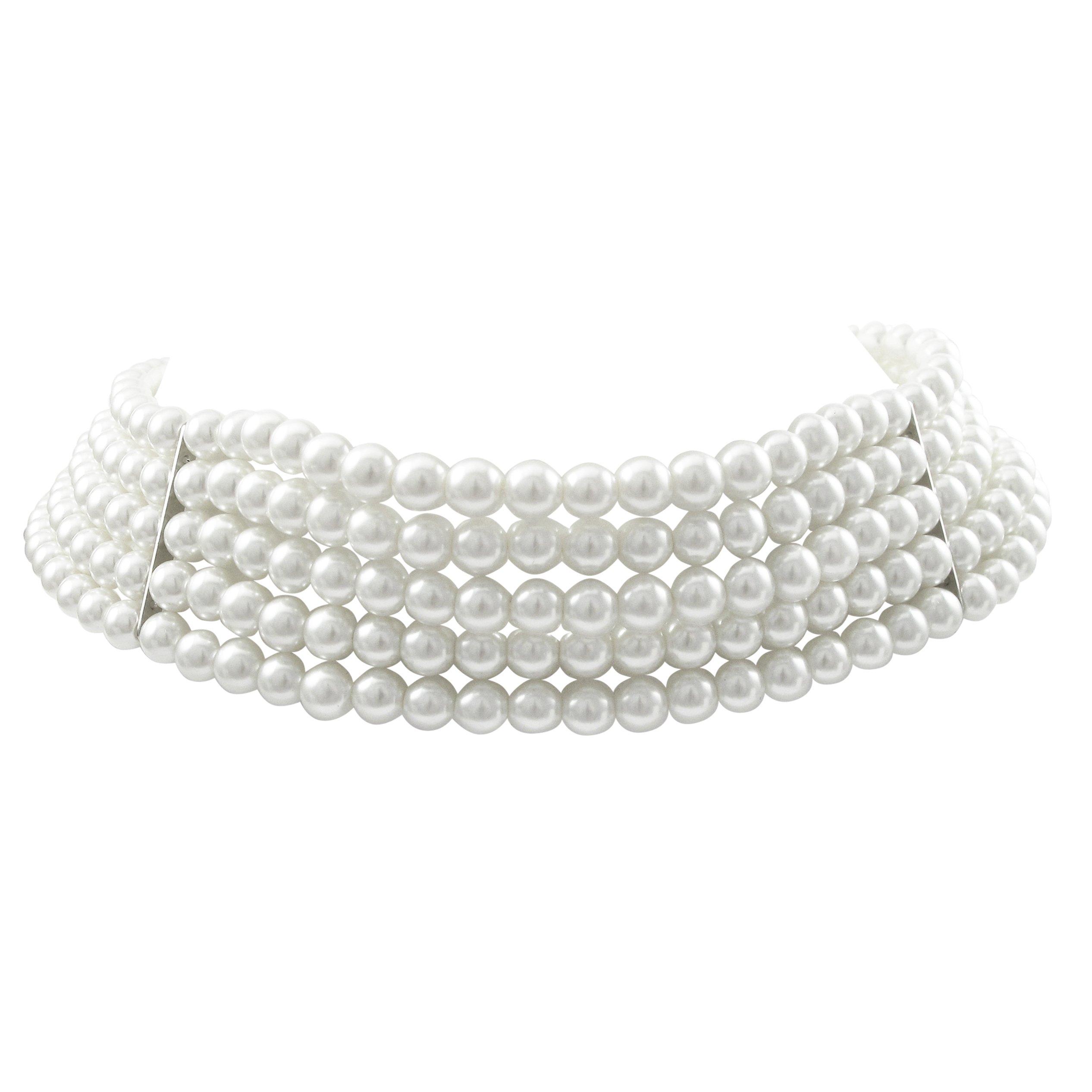 Isaac Kieran Rhodium Finish 6-mm White Faux Pearl 5-Strand Choker Necklace, 13+3'' Extender