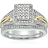 18k 1 Micron Yellow Gold Over Sterling Silver Diamond Cushion Shape Bridal Ring (1/2 cttw