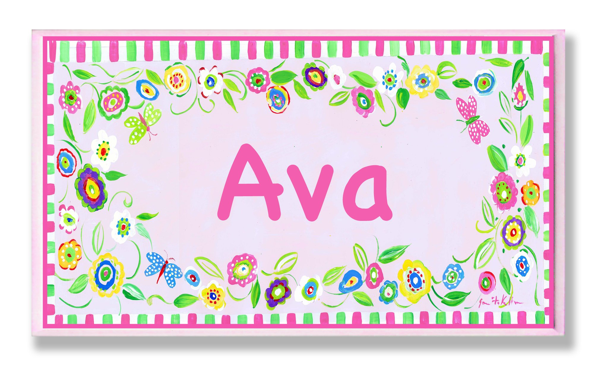 The Kids Room by Stupell Ava, Pink and Green Border with Flowers Personalized Rectangle Wall Plaque by The Kids Room by Stupell (Image #1)