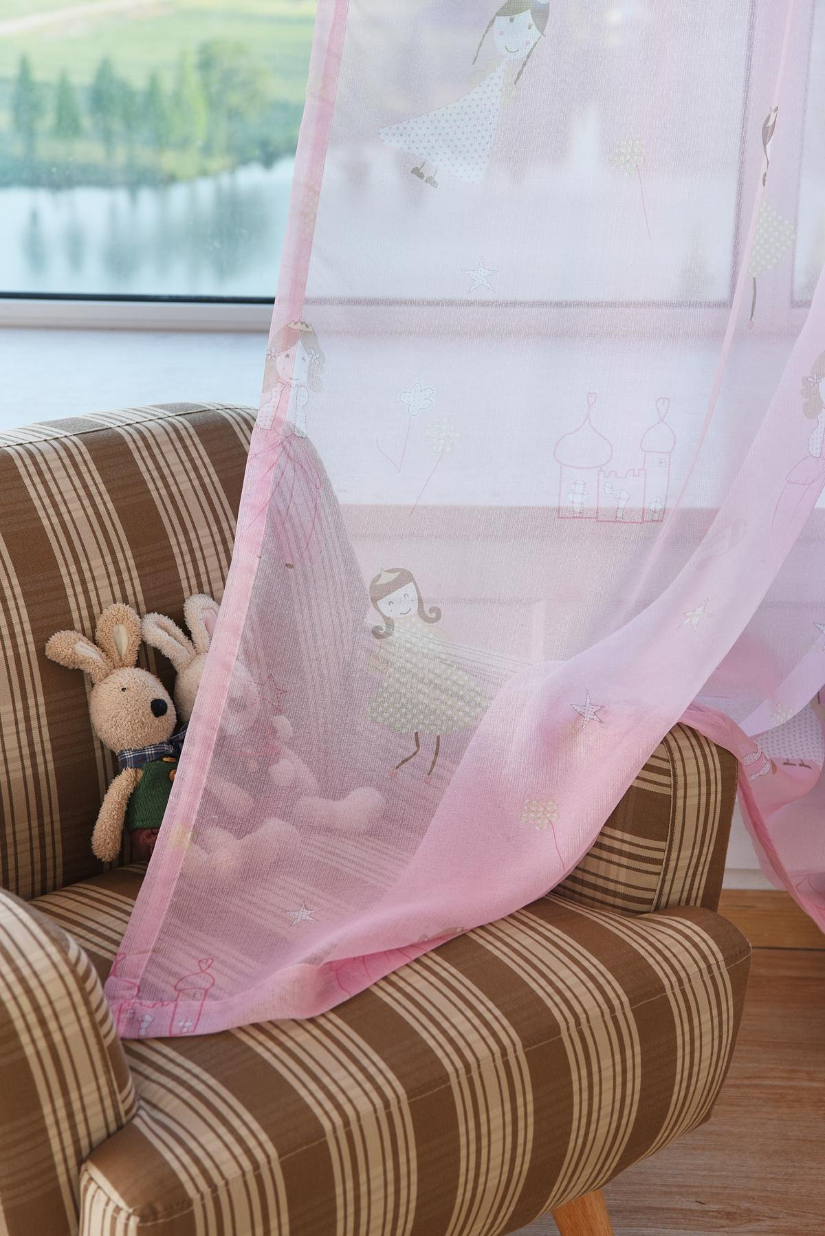 LQF Sheer Curtains Country Home Decor Pink Curtains for Bedroom Living Room Dining Room Teens Kids Girls Room Decorations Drapes , Grommet Process , One Panel , W40 by L84 inch