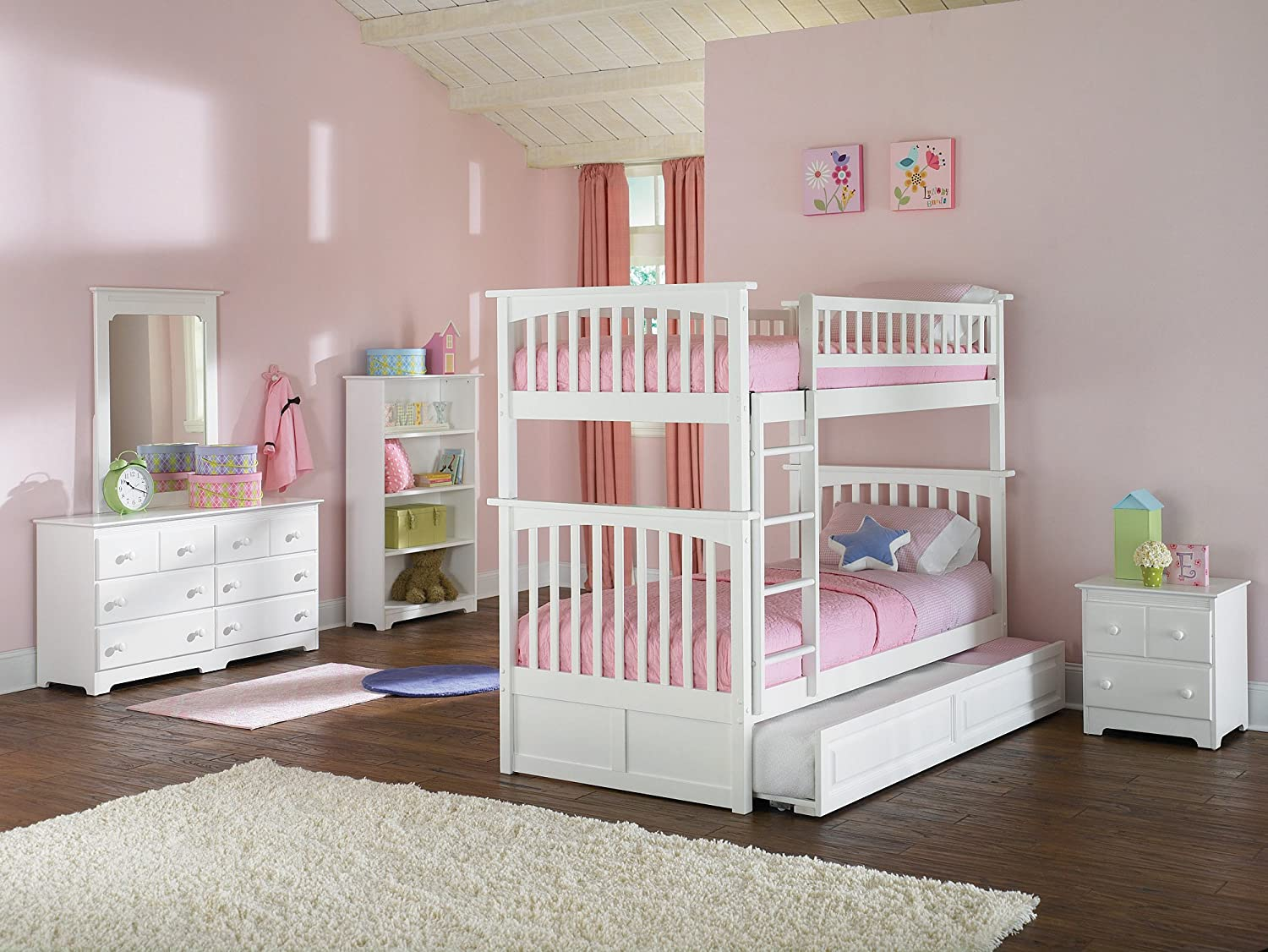amazoncom columbia bunk bed with trundle bed twin over twin white kitchen u0026 dining