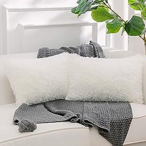 NordECO HOME Luxury Soft Faux Fur Fleece Cushion Cover Pillowcase Decorative Throw Pillows Covers, No Pillow Insert, 12