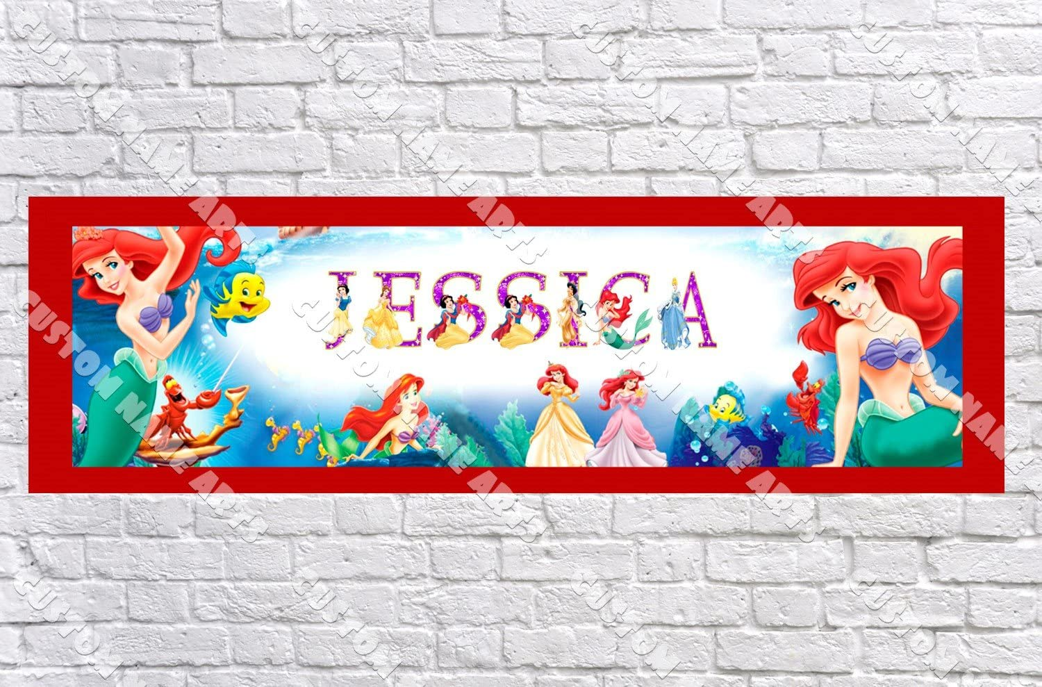 Personalized Customized Mulan Name Banner Wall Decor Poster with Frame Set