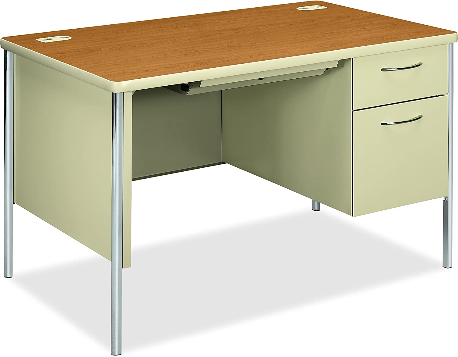 """HON Mentor Small Office Desk with 33 Box/33 File Drawer, Chrome Legs and  Putty Finish, 33"""", Harvest"""