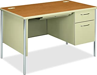 "product image for HON Mentor Small Office Desk with 1 Box/1 File Drawer, Chrome Legs and Putty Finish, 48"", Harvest"