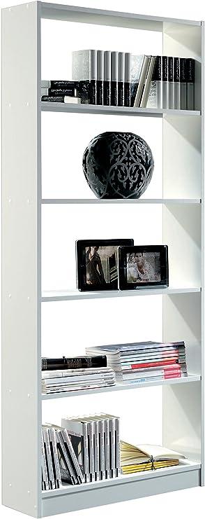Estantería librería Biblioteca Abierta Color Blanco Brillo, 5 ...