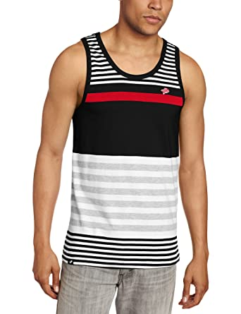 58e243da3eeb97 Amazon.com  Southpole Men s Tank Top with Engineered Thin Stripes ...