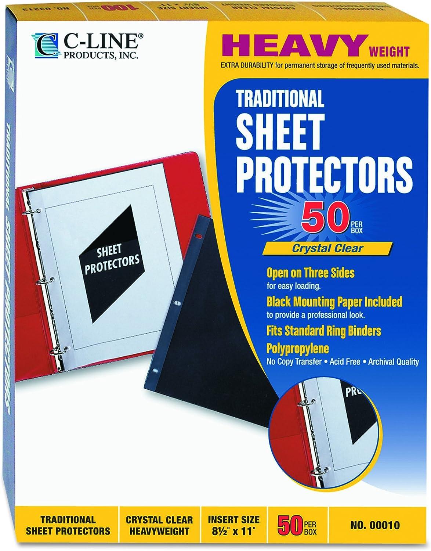 """C-Line Super Heavyweight Polypropylene Sheet Protector Clear 2/"""" 11 x 8 1//2 50//BX"""