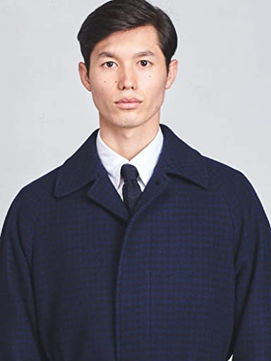 Houndstooth Belted Bal Collar Coat 1125-199-7055: Navy