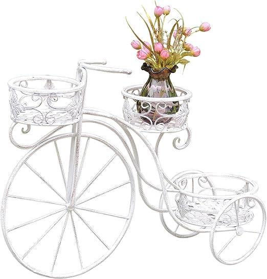 Macetero mesa bicicleta # 05 Blanco Flor Triciclo metal Shabby ...