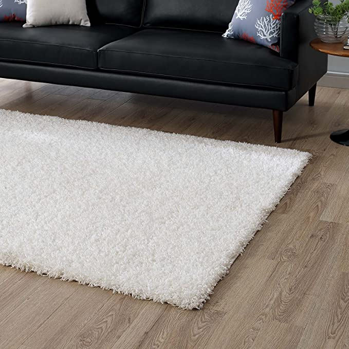 Modway Enyssa 8x10 Solid High Pile Shag Area Rug With In Ivory White Furniture Decor Amazon Com