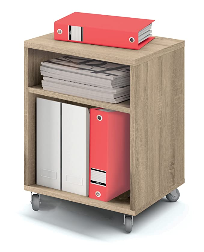 Abitti Buck cajonera con Ruedas Color Cambrian y 2 estantes para Mesa Escritorio de Oficina, despacho o Estudio. 55cm Altura x 40cm Ancho x 40cm Fondo