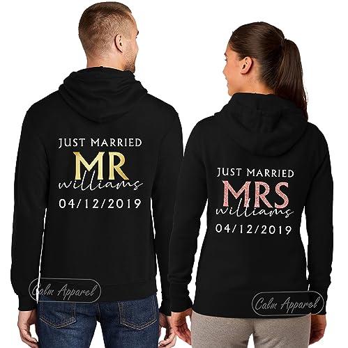MR AND MRS PERSONALISED JUST MARRIED HOODIES HONEYMOON HOODY SET WEDDING GIFT