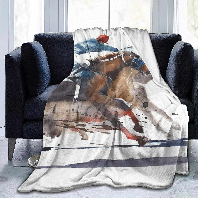 AEMAPE Manta de Tiro, Competencia de Carreras de Caballos Derby de Carreras de Caballos con Pintura de Acuarela de Jinetes, Manta Suave para sofá, Dormitorio, Viajes